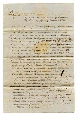 Primary view of object titled '[Jury findings or proposed jury findings in case about ownership of slaves]'.