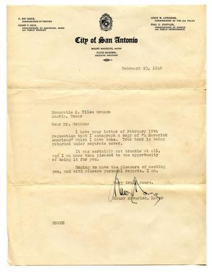 Primary view of object titled '[Correspondence to Richard Niles Graham from Maury Maverick, mayor of San Antonio]'.