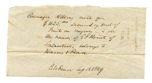 Primary view of [Note secured by deed of trust on slaves]