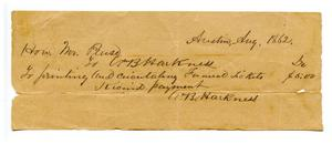 Primary view of object titled '[Funeral receipt]'.