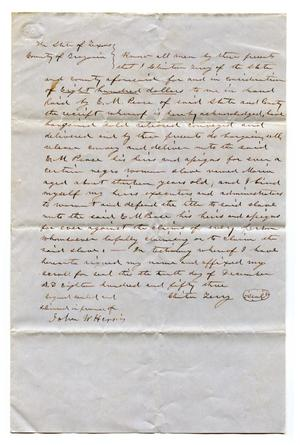 Primary view of object titled '[Agreement for E.M. Pease's purchase of slave named Maria from Clinton Terry]'.