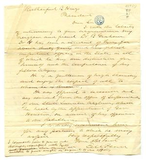 Primary view of object titled '[Correspondence from E.M. Pease to President Rutherford B. Hayes]'.