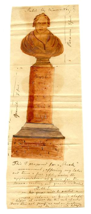 Primary view of object titled '[Sketch by Elisabet Ney of a sculpture of Thomas Jefferson Rusk, with accompanying note]'.