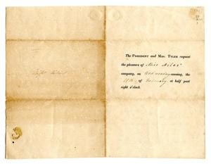 [Invitation to Lucadia Pease from President John Tyler and first lady Julia Tyler]