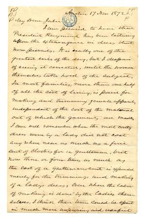 Primary view of [Correspondence from E.M. Pease to Julia Maria Pease, his daughter]