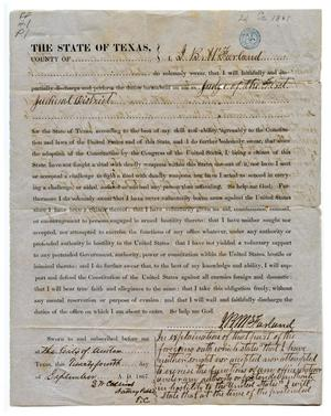 Primary view of object titled '[Post-Civil-War loyalty oath signed by Judge J.B.M. McFarland]'.