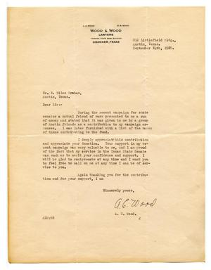 [Correspondence to Richard Niles Graham from A.E. Wood]