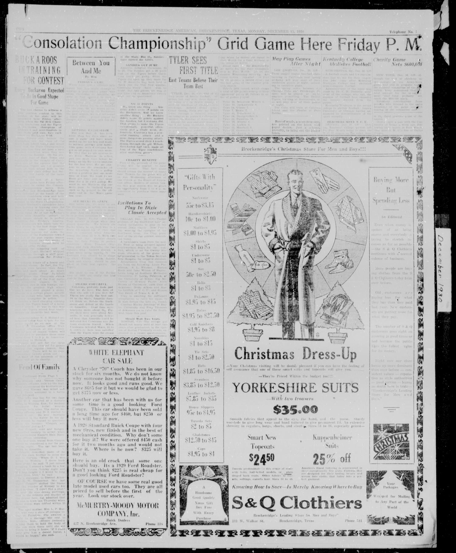 The Breckenridge American (Breckenridge, Tex.), Vol. 10, No. 327, Ed. 1, Tuesday, December 16, 1930                                                                                                      [Sequence #]: 2 of 6