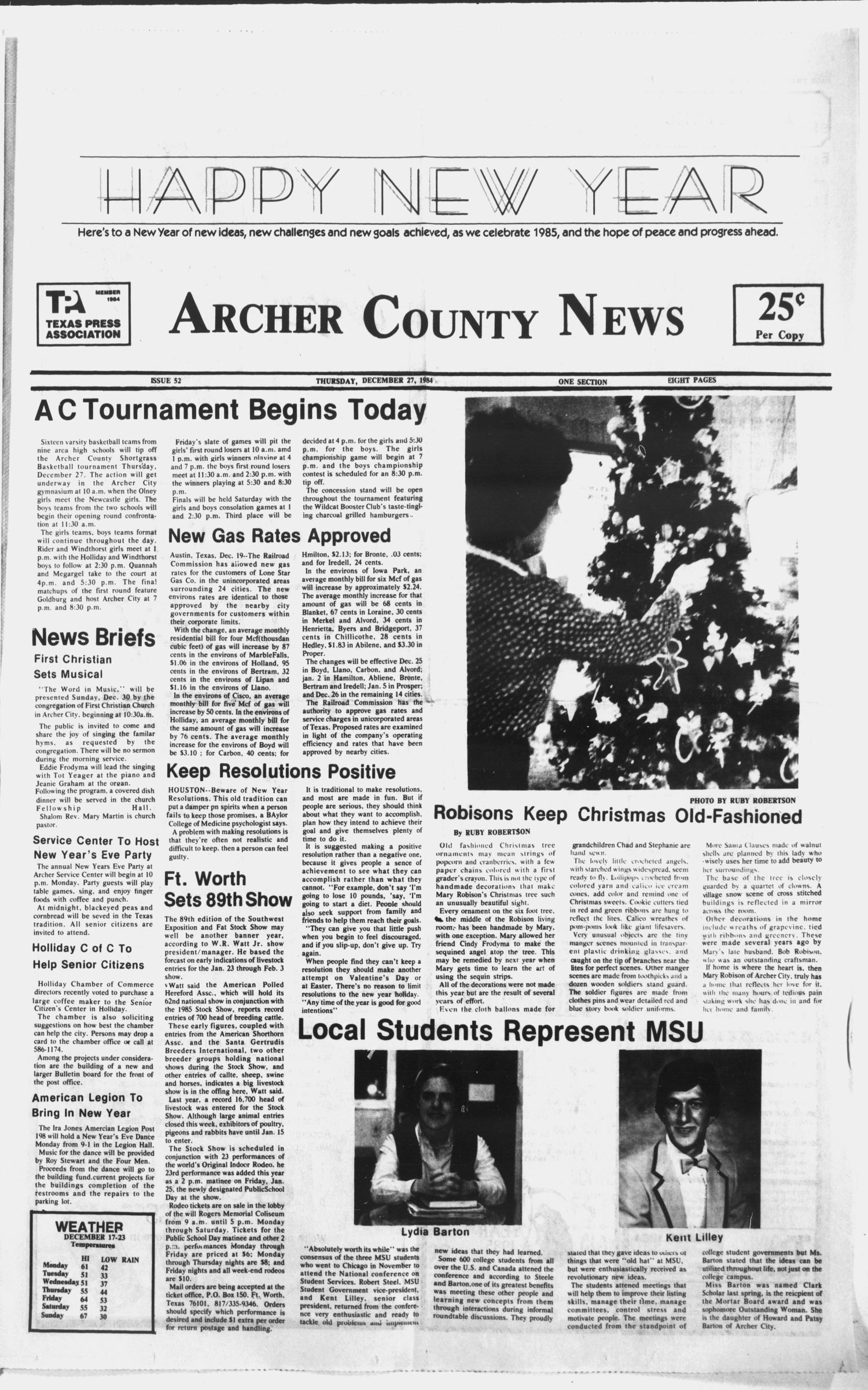 Archer County News (Archer City, Tex ), No  52, Ed  1 Thursday