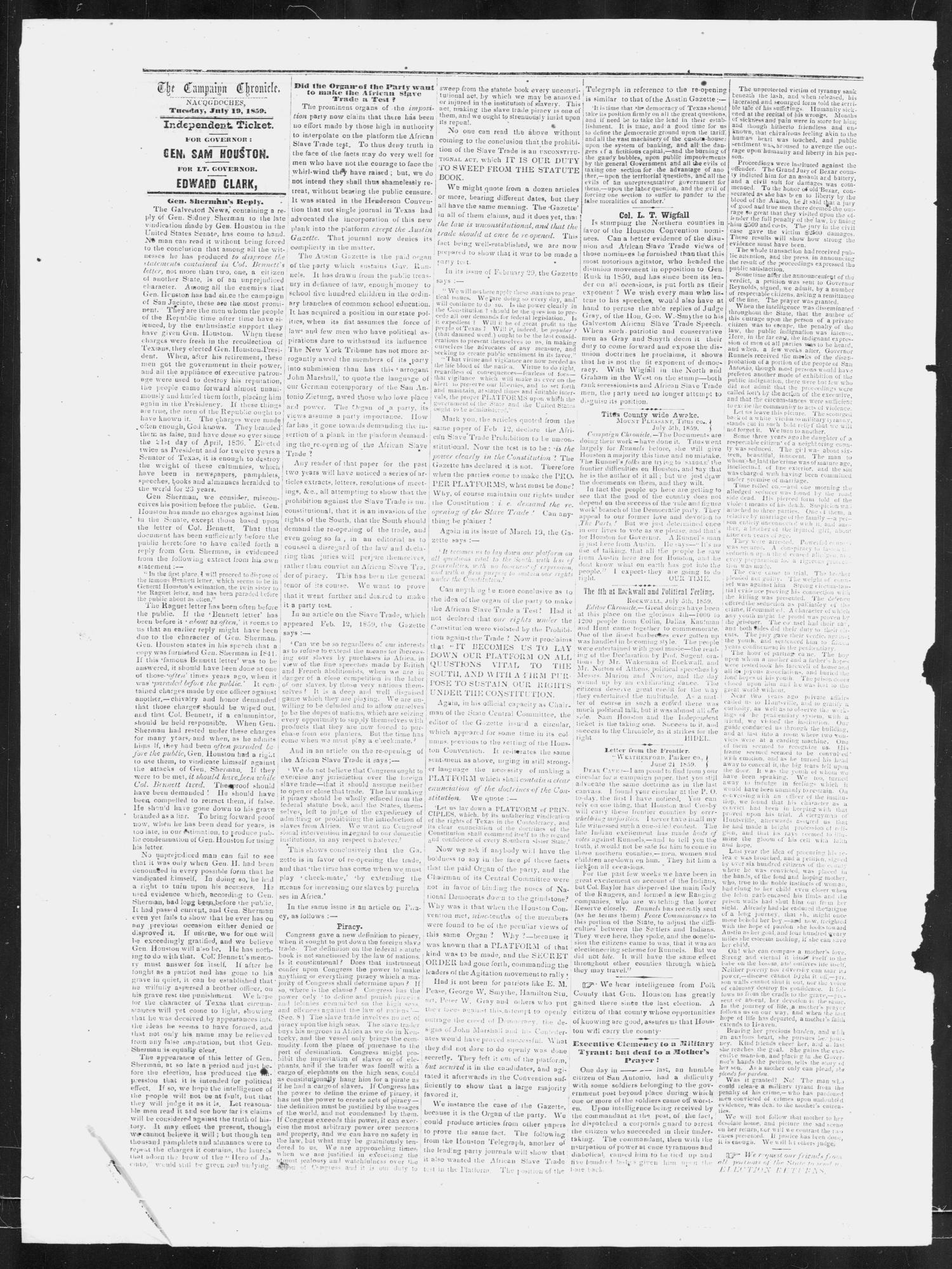 The Campaign Chronicle. (Nacogdoches, Tex.), Vol. 2, No. 6, Ed. 1 Tuesday, July 19, 1859                                                                                                      [Sequence #]: 4 of 6
