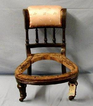 Primary view of object titled '[Eastlake slipper chair without cushion, higher angle shot]'.
