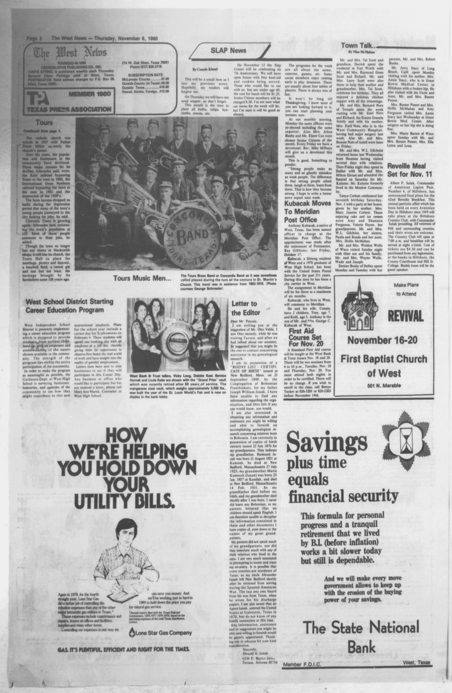The West News (West, Tex.), Vol. 90, No. 44, Ed. 1 Thursday, November 6, 1980                                                                                                      [Sequence #]: 2 of 10
