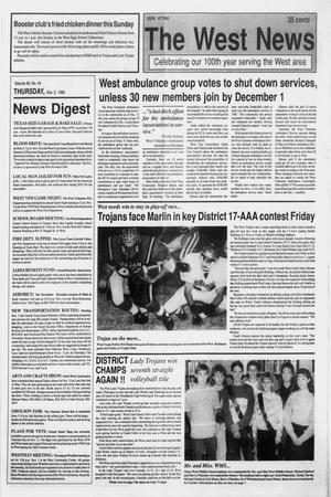 Primary view of object titled 'The West News (West, Tex.), Vol. 99, No. 44, Ed. 1 Thursday, November 2, 1989'.