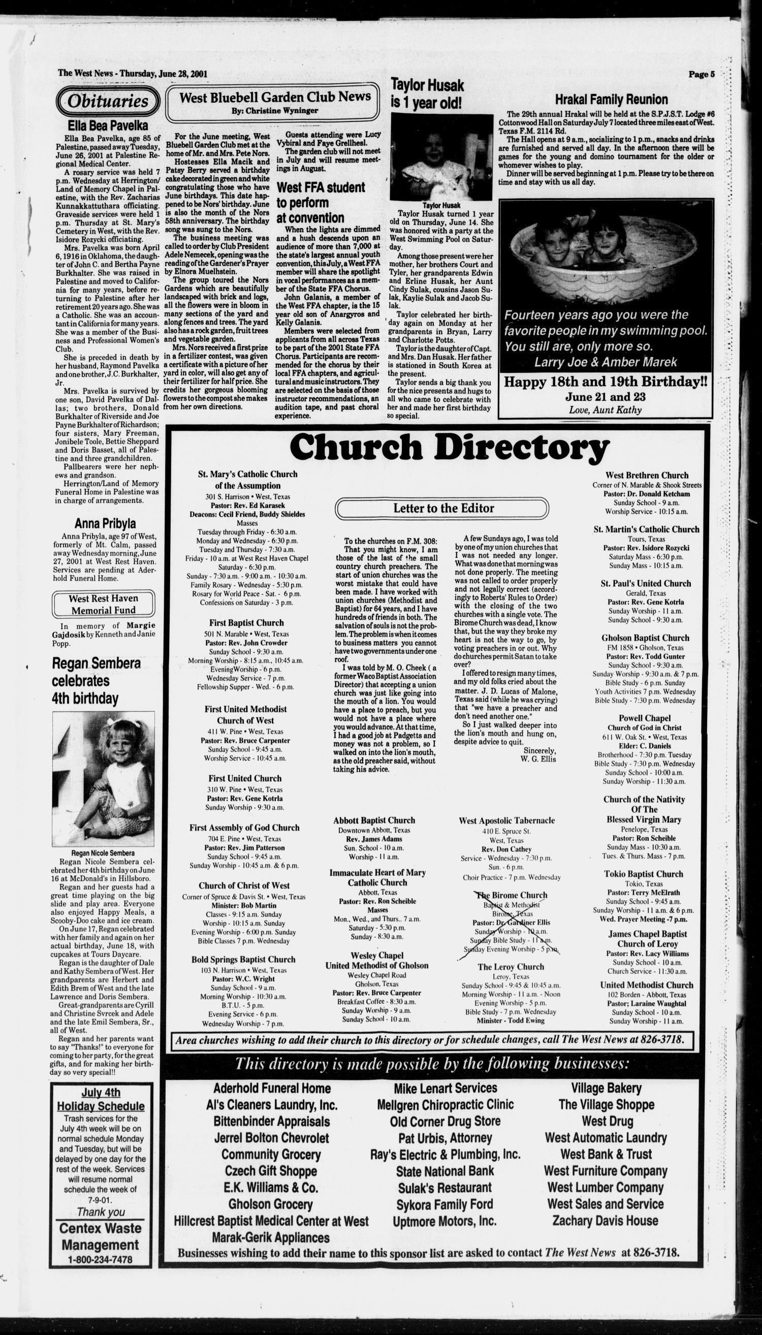 The West News (West, Tex ), Vol  111, No  26, Ed  1 Thursday