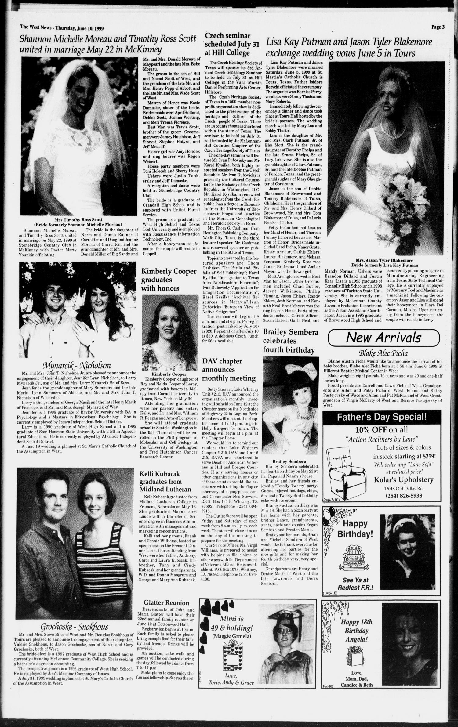 The West News (West, Tex.), Vol. 109, No. 23, Ed. 1 Thursday, June 10, 1999                                                                                                      [Sequence #]: 3 of 12