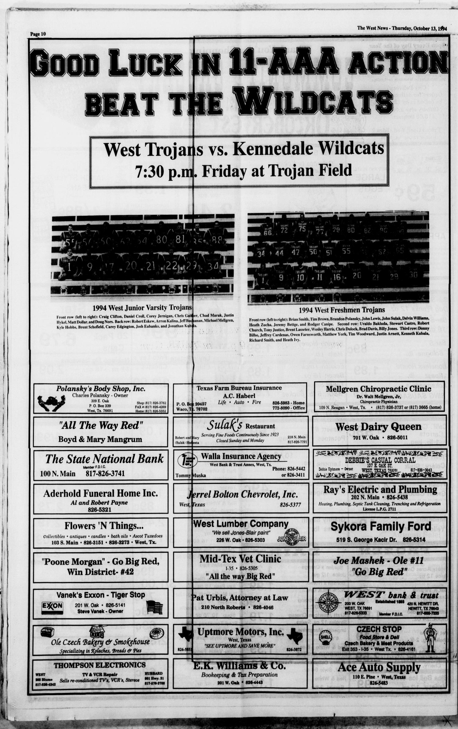 The West News (West, Tex.), Vol. 104, No. 41, Ed. 1 Thursday ...