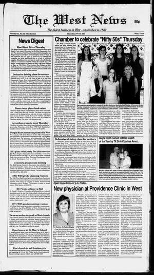 Primary view of object titled 'The West News (West, Tex.), Vol. 111, No. 30, Ed. 1 Thursday, July 26, 2001'.