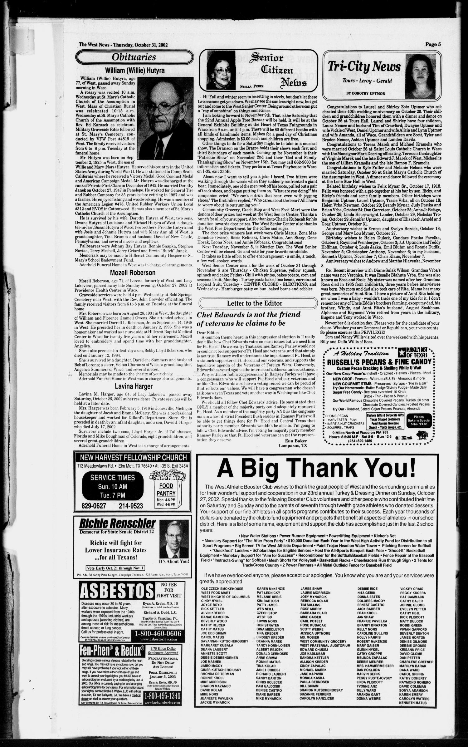 The West News (West, Tex.), Vol. 112, No. 44, Ed. 1 Thursday ...