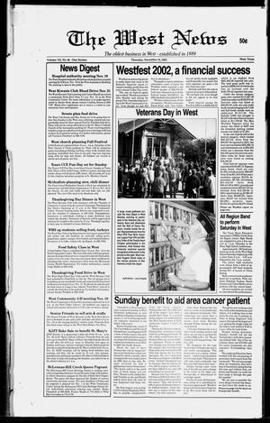 Primary view of object titled 'The West News (West, Tex.), Vol. 112, No. 46, Ed. 1 Thursday, November 14, 2002'.