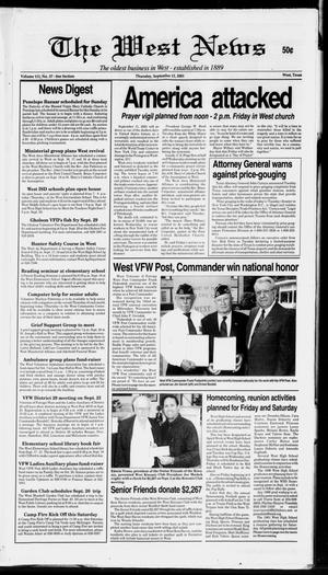 Primary view of object titled 'The West News (West, Tex.), Vol. 111, No. 37, Ed. 1 Thursday, September 13, 2001'.