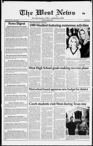 Primary view of object titled 'The West News (West, Tex.), Vol. 109, No. 34, Ed. 1 Thursday, August 26, 1999'.