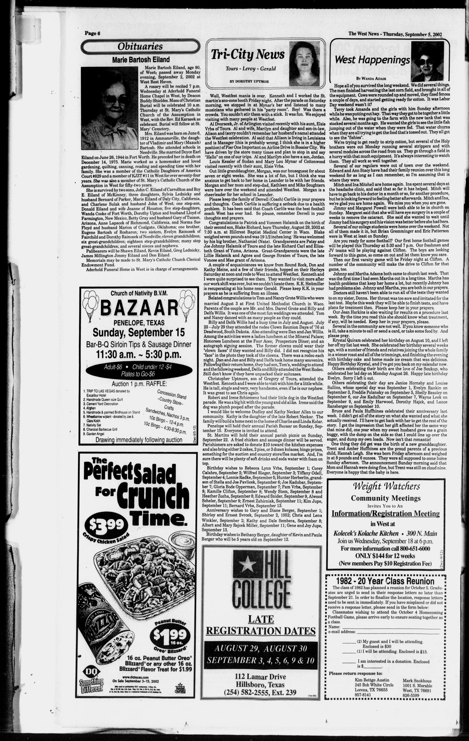The West News (West, Tex.), Vol. 112, No. 36, Ed. 1 Thursday ...