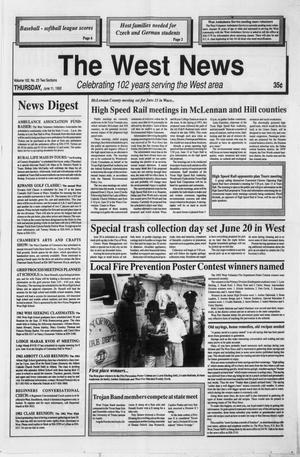 Primary view of object titled 'The West News (West, Tex.), Vol. 102, No. 23, Ed. 1 Thursday, June 11, 1992'.