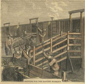 "Primary view of object titled '[Print from Harper's Weekly, May 2, 1874. ""The Texas Cattle Trade""]'."