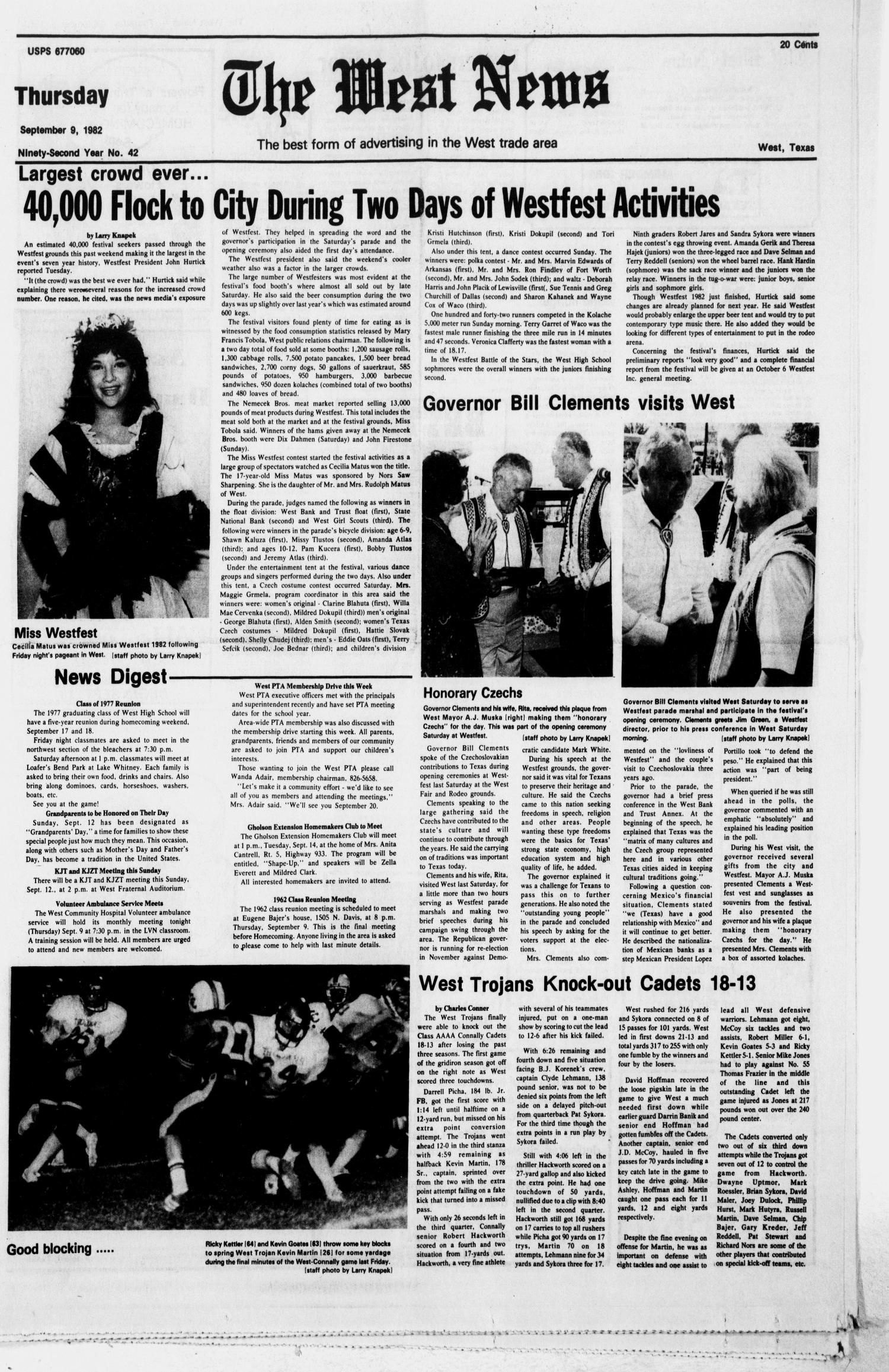 The West News (West, Tex.), Vol. 92, No. 42, Ed. 1 Thursday, September 9, 1982                                                                                                      [Sequence #]: 1 of 12