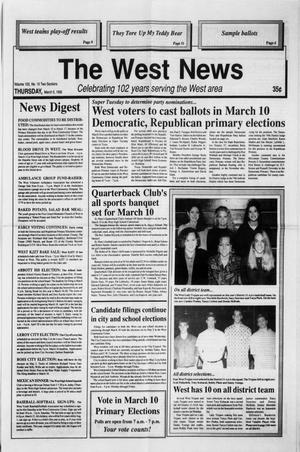Primary view of object titled 'The West News (West, Tex.), Vol. 102, No. 10, Ed. 1 Thursday, March 5, 1992'.