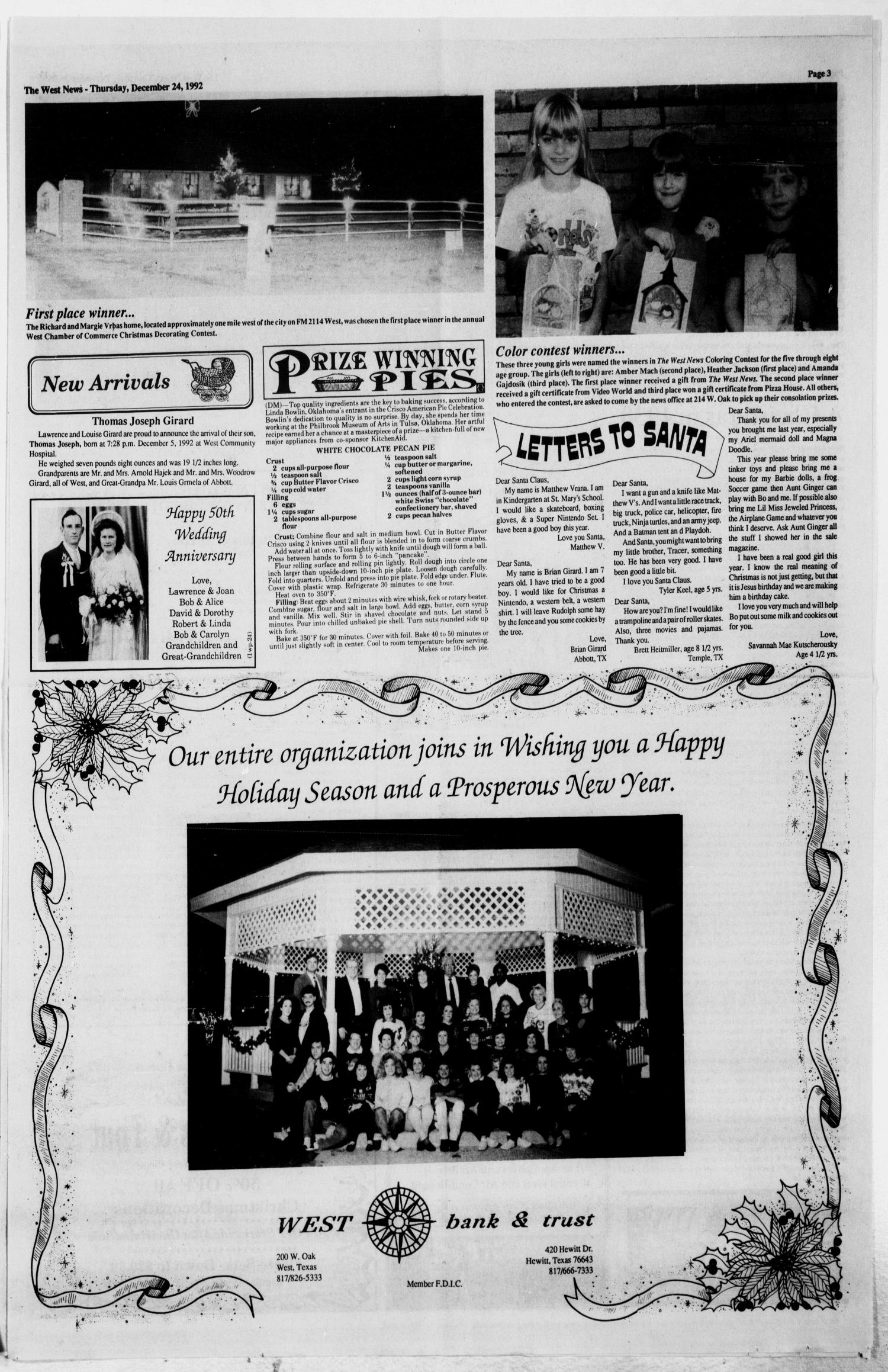 The West News (West, Tex.), Vol. 102, No. 52, Ed. 1 Thursday, December 24, 1992                                                                                                      [Sequence #]: 3 of 20