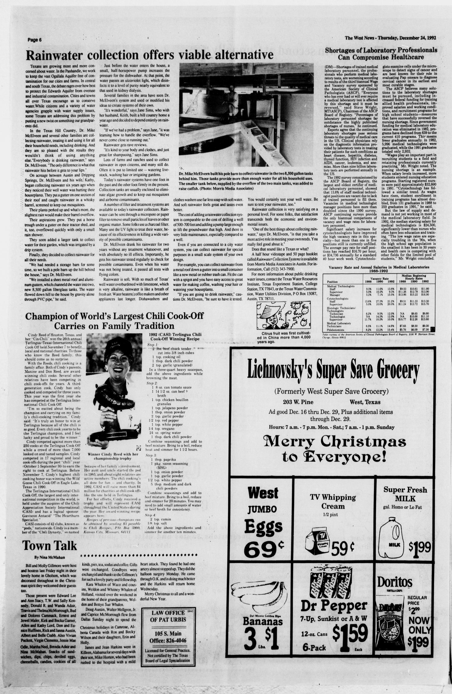 The West News (West, Tex.), Vol. 102, No. 52, Ed. 1 Thursday, December 24, 1992                                                                                                      [Sequence #]: 6 of 20
