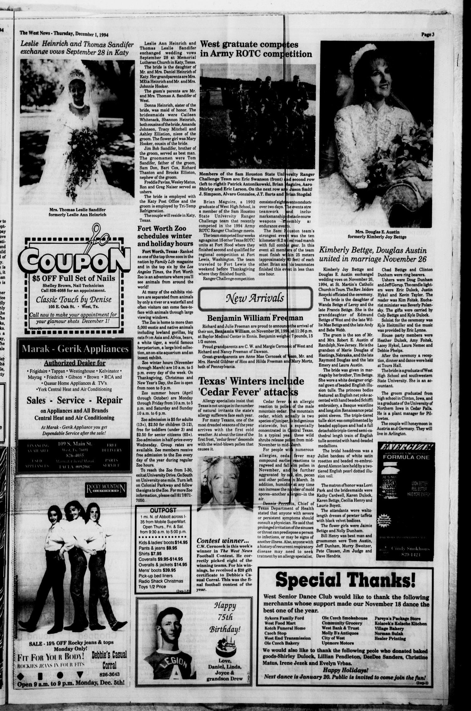 The West News (West, Tex.), Vol. 104, No. 48, Ed. 1 Thursday ...
