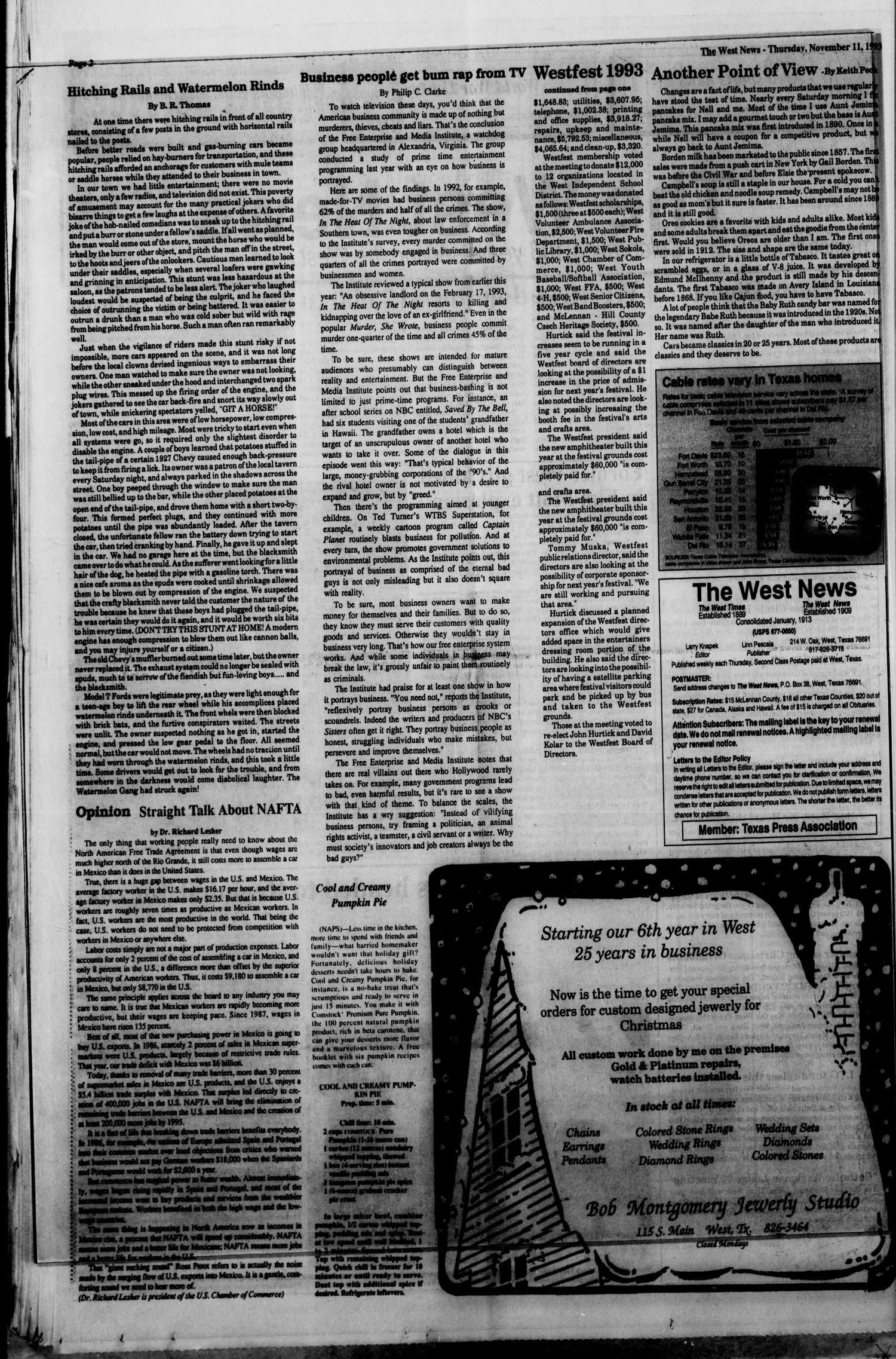 The West News (West, Tex.), Vol. 103, No. 45, Ed. 1 Thursday, November 11, 1993                                                                                                      [Sequence #]: 2 of 12