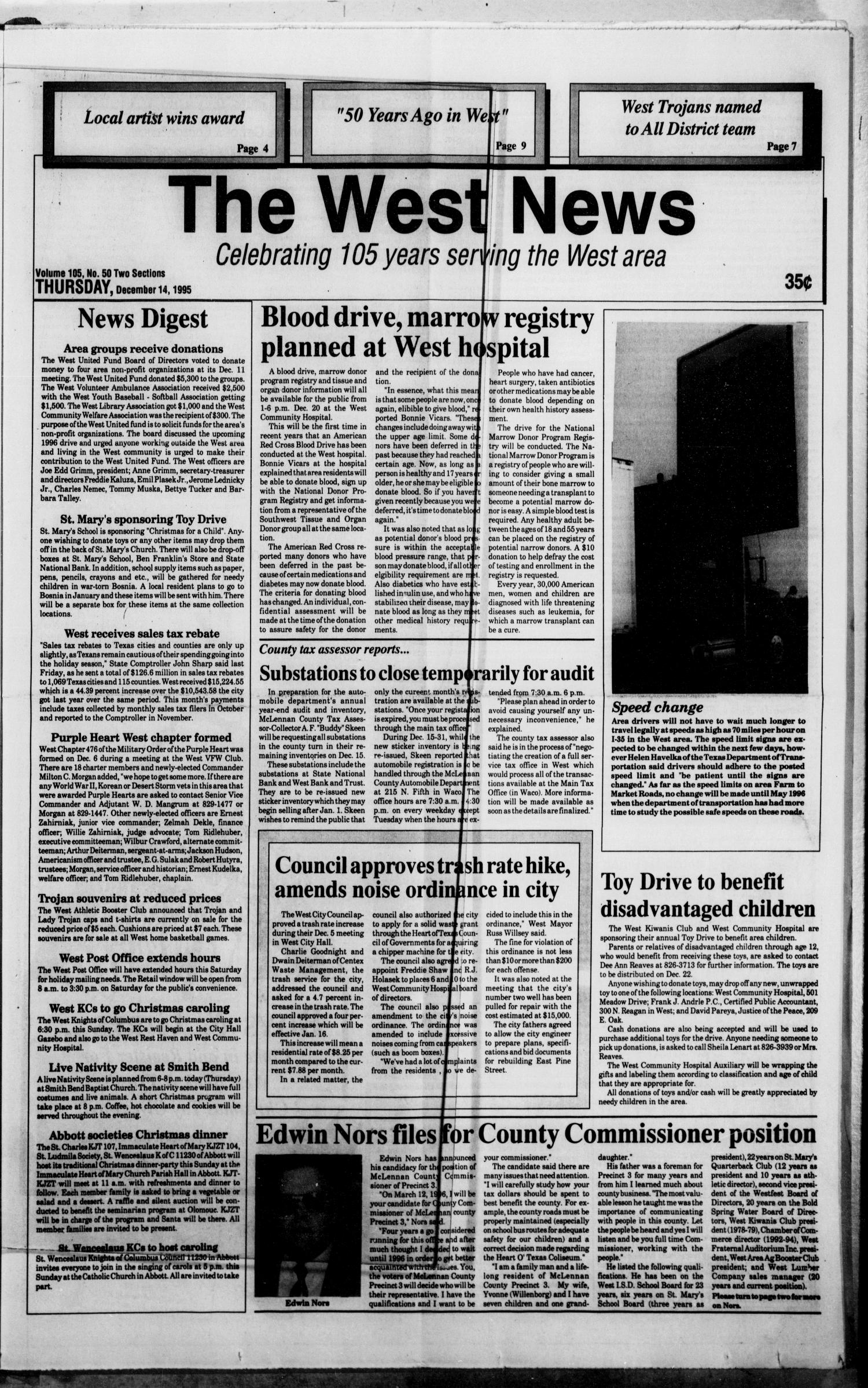 The West News (West, Tex.), Vol. 105, No. 50, Ed. 1 Thursday, December 14, 1995                                                                                                      [Sequence #]: 1 of 12