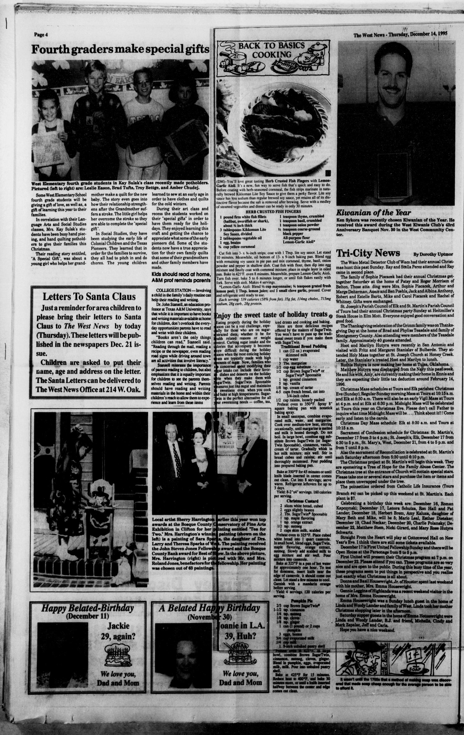 The West News (West, Tex.), Vol. 105, No. 50, Ed. 1 Thursday, December 14, 1995                                                                                                      [Sequence #]: 4 of 12