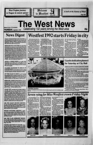 Primary view of object titled 'The West News (West, Tex.), Vol. 102, No. 37, Ed. 1 Thursday, September 3, 1992'.