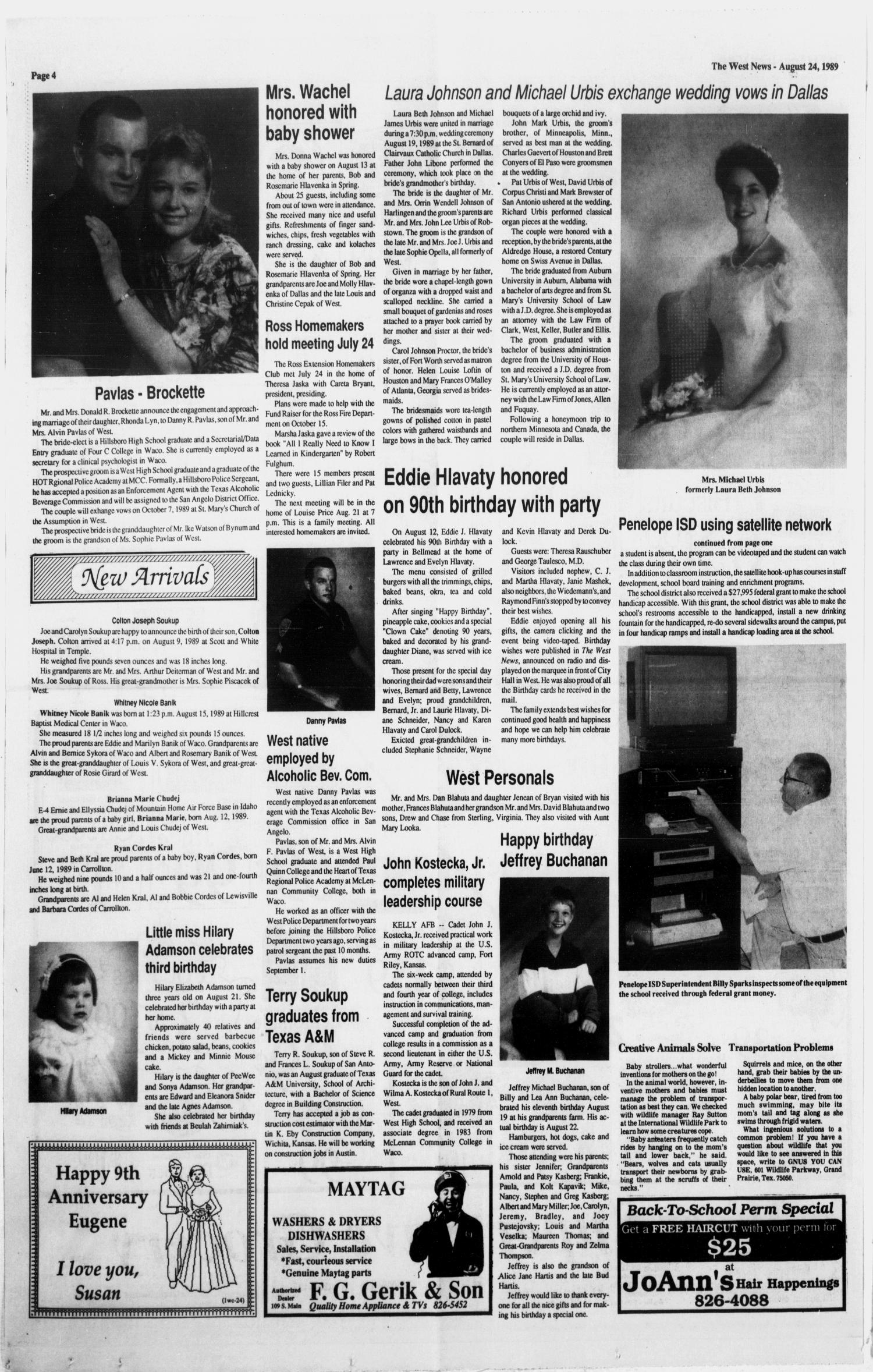 The West News (West, Tex.), Vol. 99, No. 33, Ed. 1 Thursday, August 24, 1989                                                                                                      [Sequence #]: 4 of 12
