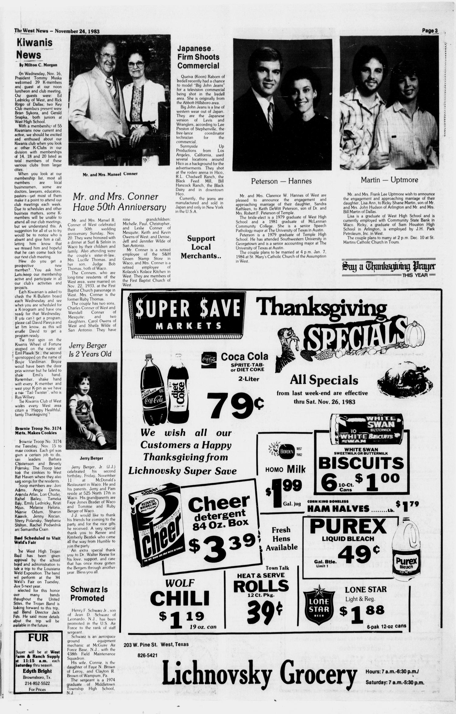 The West News (West, Tex.), Vol. 93, No. 47, Ed. 1 Thursday, November 24, 1983                                                                                                      [Sequence #]: 3 of 14