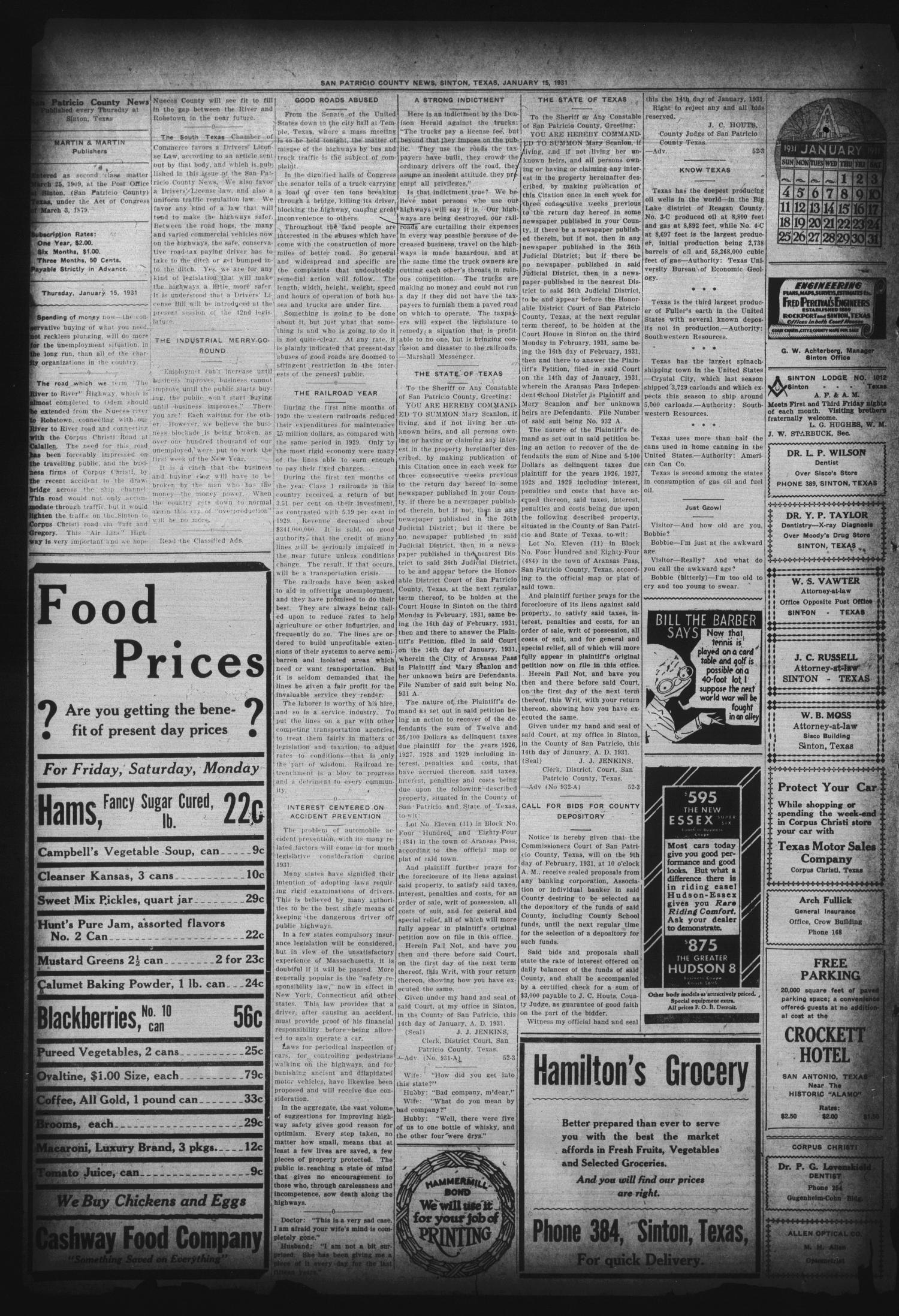 San Patricio County News (Sinton, Tex.), Vol. 22, No. 52, Ed. 1 Thursday, January 15, 1931                                                                                                      [Sequence #]: 2 of 6