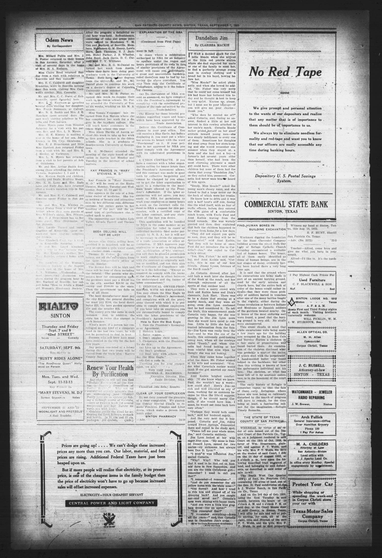 San Patricio County News (Sinton, Tex.), Vol. 25, No. 34, Ed. 1 Thursday, September 7, 1933                                                                                                      [Sequence #]: 4 of 4