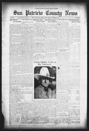 Primary view of object titled 'San Patricio County News (Sinton, Tex.), Vol. 25, No. 43, Ed. 1 Thursday, November 9, 1933'.