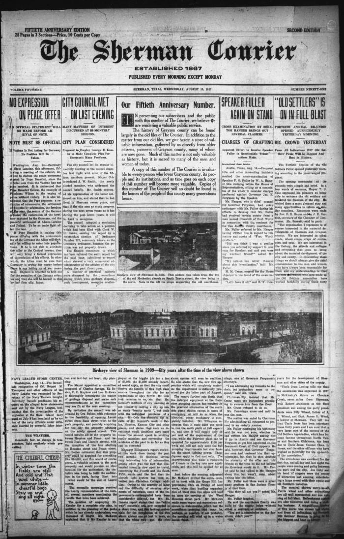 Sherman Tx News >> The Sherman Courier Sherman Tex Vol 51 No 91 Ed 2
