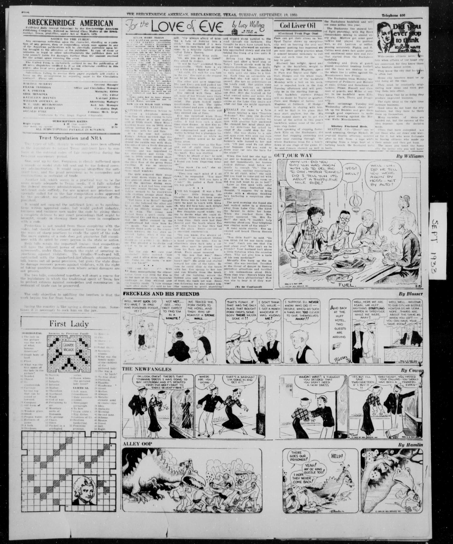 The Breckenridge American (Breckenridge, Tex.), Vol. 13, No. 247, Ed. 1, Tuesday, September 19, 1933                                                                                                      [Sequence #]: 2 of 4