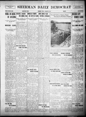 Primary view of object titled 'Sherman Daily Democrat (Sherman, Tex.), Vol. THIRTY-FOURTH YEAR, Ed. 1 Monday, January 18, 1915'.