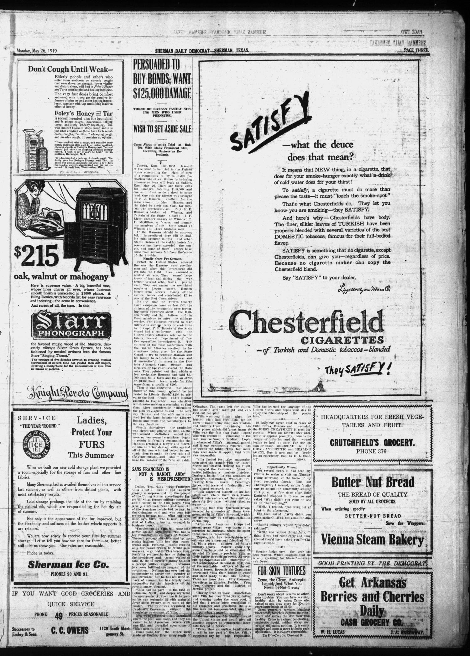 Sherman Daily Democrat (Sherman, Tex.), Vol. THIRTY-EITHTH YEAR, Ed. 1 Monday, May 26, 1919                                                                                                      [Sequence #]: 3 of 8
