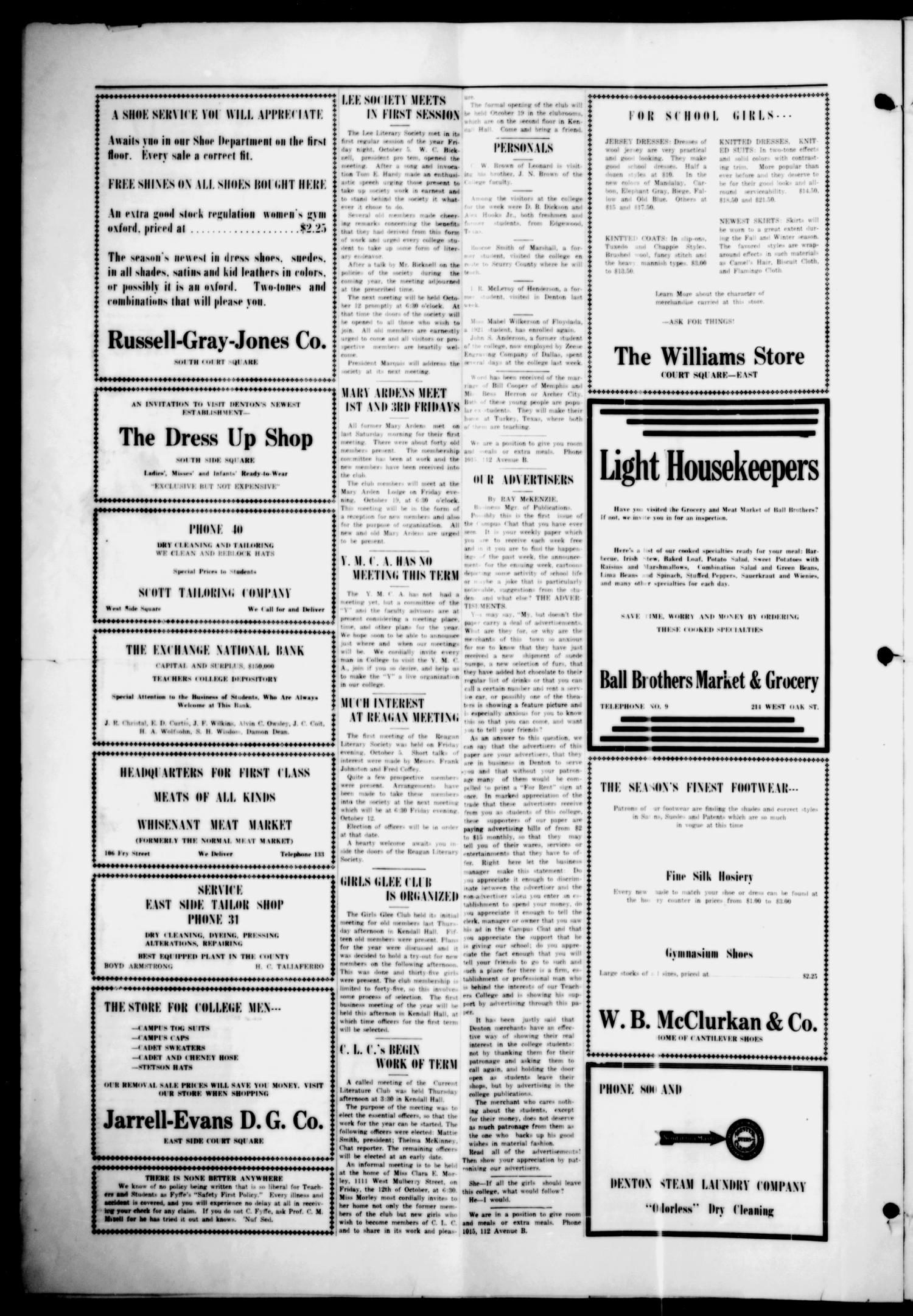 The Campus Chat (Denton, Tex.), Vol. 8, No. 3, Ed. 1 Tuesday, October 9, 1923                                                                                                      [Sequence #]: 4 of 4