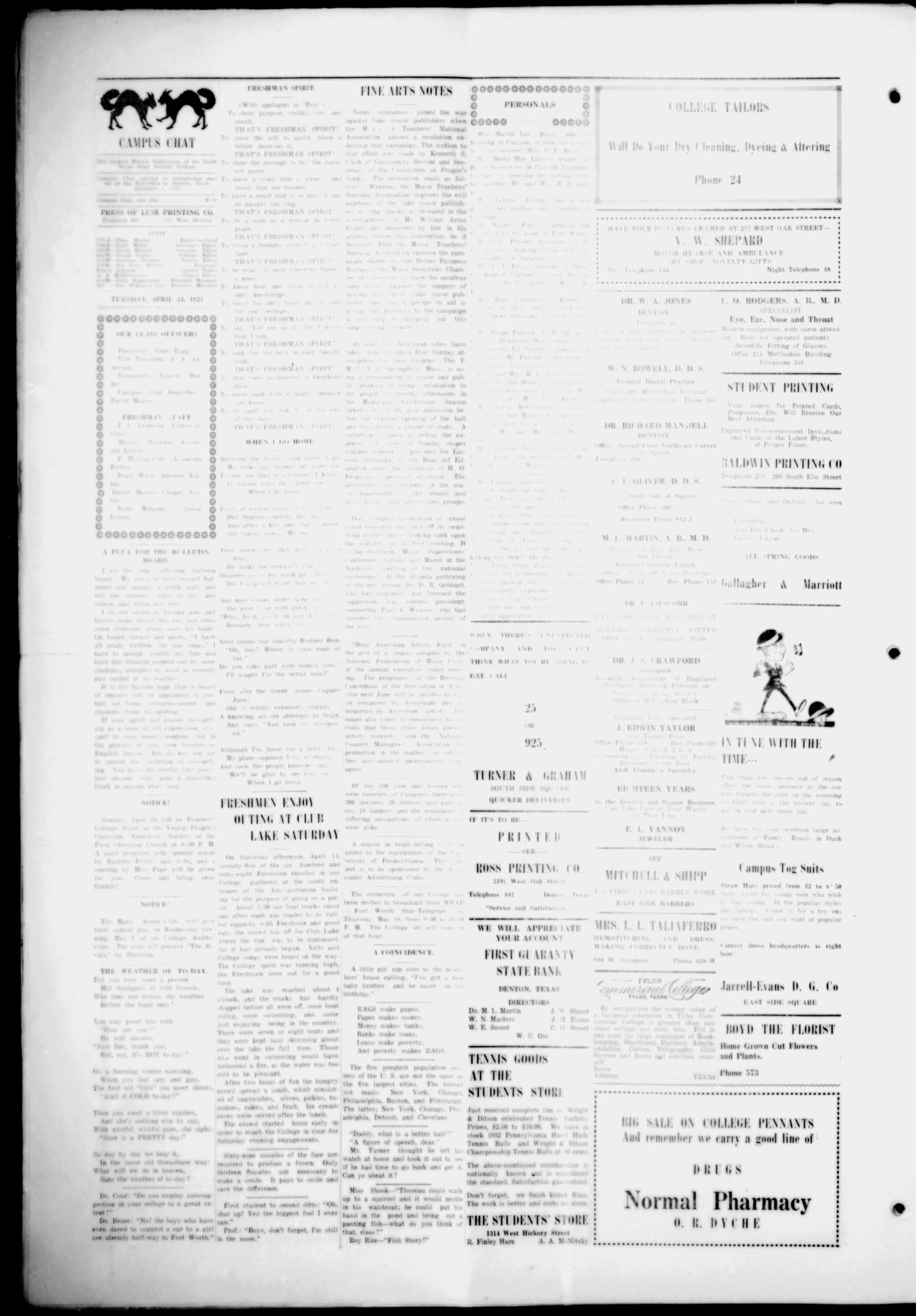 The Campus Chat (Denton, Tex.), Vol. 7, No. 29, Ed. 1 Tuesday, April 24, 1923                                                                                                      [Sequence #]: 2 of 4