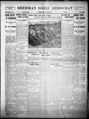 Primary view of object titled 'Sherman Daily Democrat (Sherman, Tex.), Vol. THIRTY-FOURTH YEAR, Ed. 1 Thursday, January 14, 1915'.