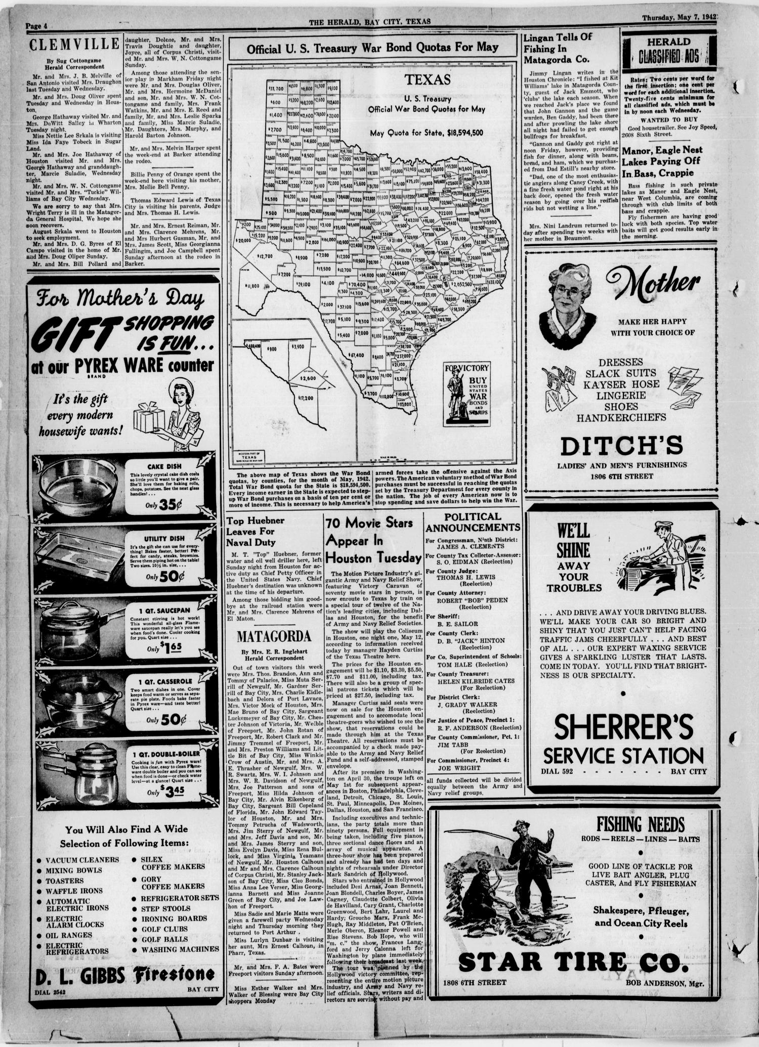 The Herald (Bay City, Tex.), Vol. 3, No. 32, Ed. 1 Thursday, May 7, 1942                                                                                                      [Sequence #]: 4 of 8